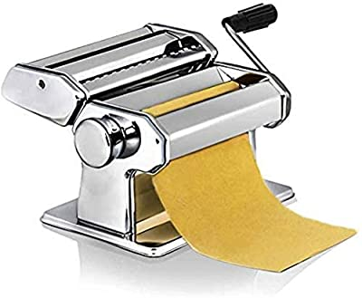 Pasta Maker Machine Spaghetti Roller Lasagne Tagliatelle Cutter Stainless Steel Pasta Maker Machine Used to Make all Kinds of Noodles (Color : Silver, Size : ONE SIZE) JIAJIAFUDR