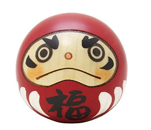 Fabricado en Japón Usaburo Kokeshi muñeca de madera feliz muñeco Daruma rojo color