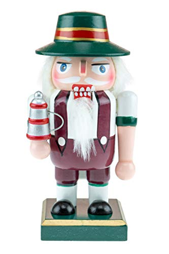 Clever Creations Classic Chubby German Nutcracker Wearing Lederhosen & Holding a Stein - Festive Collectible Decor - Perfect for Shelves and Tables - 100% Wood - 6.5