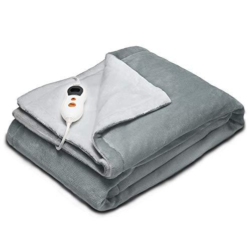 Lukasa Heizdecke Elektrische, 130 * 180cm Waschbare Kuschelheizdecke für Heimgebrauch Büronutzung (Grey)