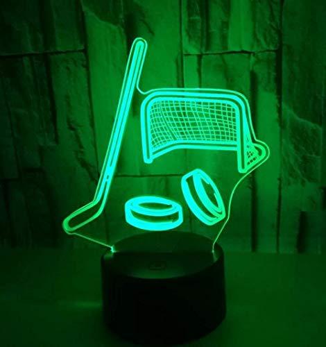 3D Creative Hockeyschläger Nachtlicht Bunte Touch-Schalter Fernbedienung Schreibtischlampe LED Energiesparende dekorative Stereo-Lampe Kind Geschenk