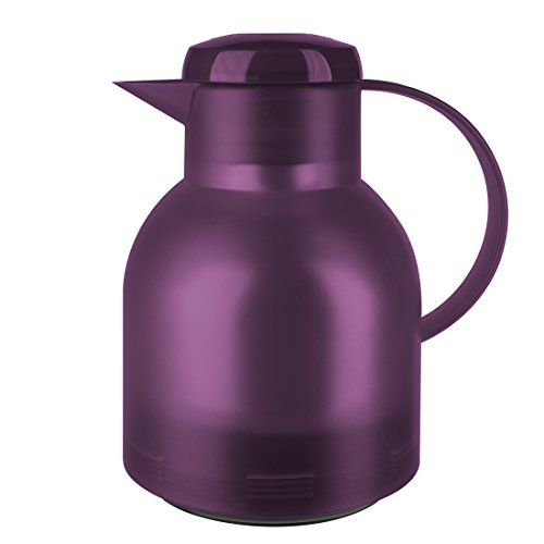 Emsa Samba Isolierkanne 505490 | 1 Liter | Quick Press Verschluss | 100% dicht | 12h heiß, 24h kalt | Aubergine Transluzent