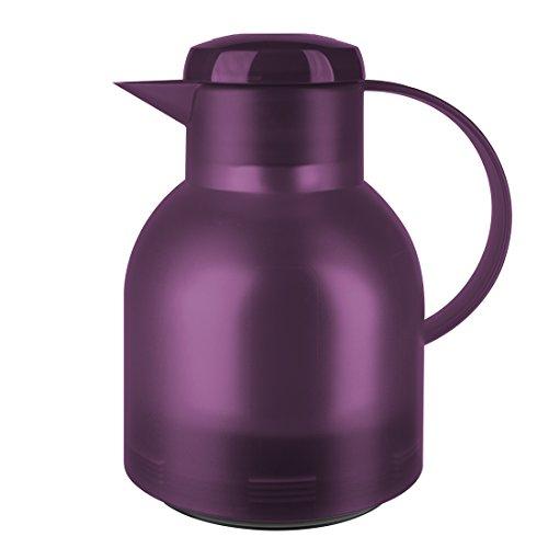 Emsa 505490 Samba Isolierkanne (1 Liter, Quick Press Verschluss, 12h heiß, 24h kalt) aubergine