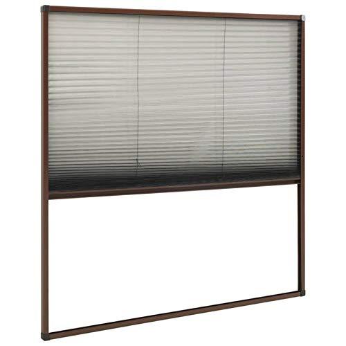 Tidyard Contrapuertas con mosquitera Decoración Mosquitera Plisada para Ventanas Aluminio marrón 80x100...