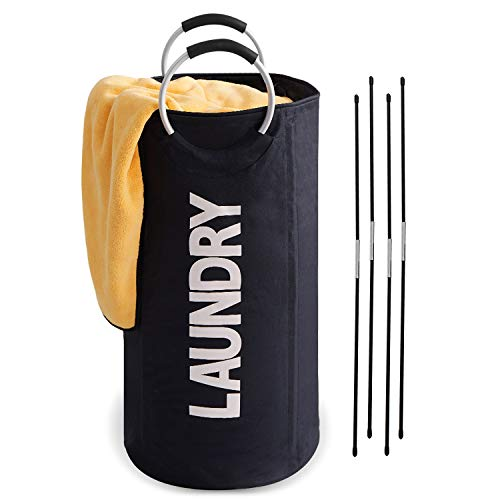 HOUSE AGAIN 92L Large Laundry Hamper Freestanding Laundry Basket with Supportive Rods and Big Metal Handles for Apartment Laundromat College Dorm Camp RV