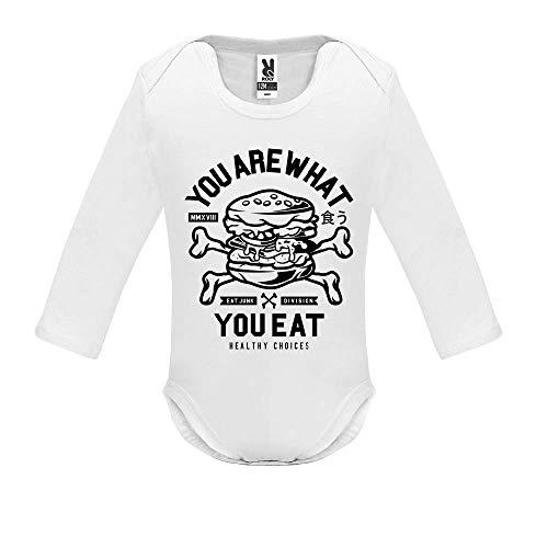 LookMyKase Body bébé - You are What You Eat - Bébé Garçon - Blanc - 6MOIS