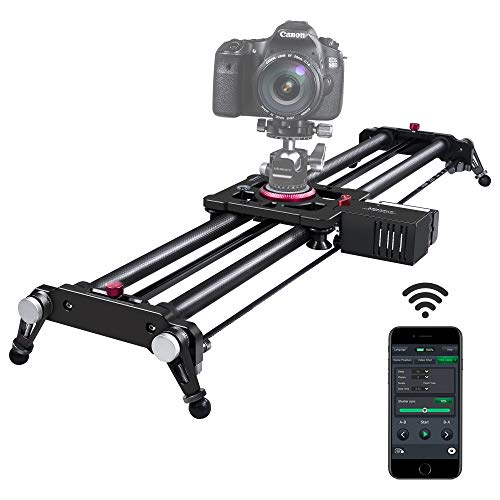 Camera Slider, ASHANKS Bluetooth APP Motorized Electric Tracking Track Dolly Slider Carbon Fiber Rail for DSLR Camera Time Lapse and Follow Focus Video Shot,120 Degree Panoramic Shot, 31' …