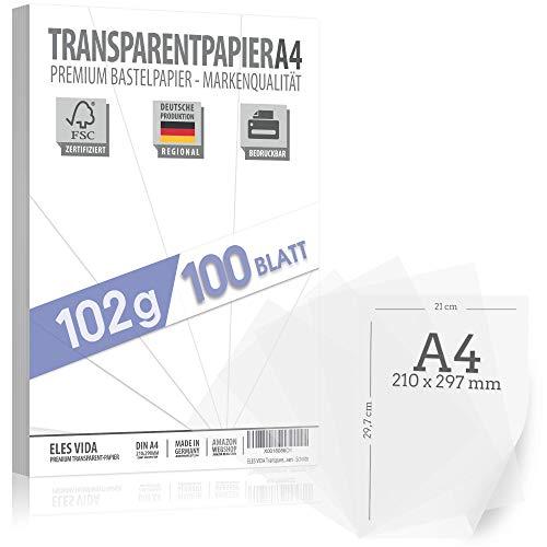 100 Blatt Transparentpapier 102 g/m² DIN A4 BEDRUCKBAR, Pauspapier Bastelpapier Pergamentpapier, Laternen selber machen – Drachenpapier zum Basteln - Bastelset Kinder - Transluzent Pergamynpapier