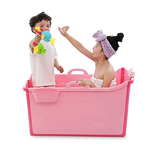 Lw Bathtub Badewannen, Badewanne bewegliche zusammenklappbare Badewanne, Bequem Folding Erwachsener/Kind Badewanne - 2 Farben (Color : Pink)