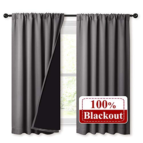 NICETOWN 100% Blackout Curtains with Black Liners, Thermal Insulated Rod Pocket Full Blackout 2-Layer Lined Drapes, Noise Reducing Window Draperies for Nursery (Grey, 2 Panels, 52 W by 54 L)
