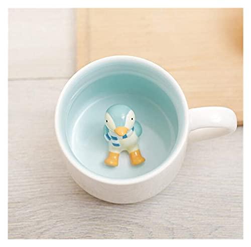YUANLIN porzellantasse 400ml Nette Tier Keramik Tassen Cartoon Kaffee Milch Tee Frühstück Becher Neuheit Geschenke Tassen porzellantasse Bone China (Capacity : 400ml, Color : Penguin)