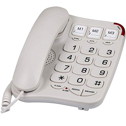 Blue Donuts BD-403BWHT Big Button Phone for Seniors – Visually Impaired Phones for Elderly, Landline Phones for Home, Braille