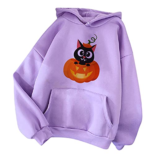 Wave166 Sudadera para mujer, diseño de gato y calabaza, monocolor, con capucha, con bolsillos, moda suelta, para Halloween, azul, L