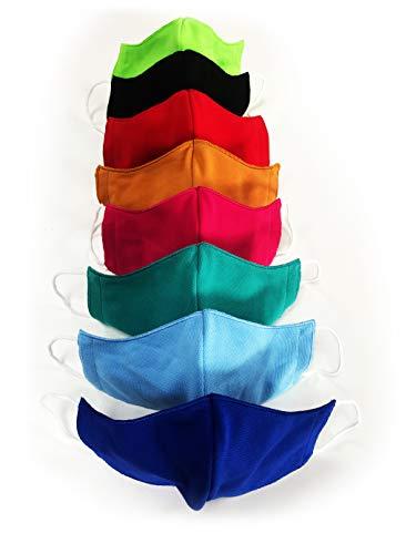 Krings Fashion Gesichts-Maske Mund-Nasen-Maske Alltagsmaske Behelfsmaske für Kinder, Damen und Herren, smaragd, Jersey 100% Baumwolle, Größe M (Damen, Herren)