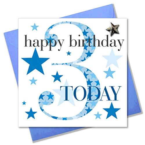 Claire Giles verjaardagskaart, voor jongens van 3 jaar