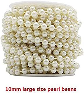 Tomixxx White Large Pearls Faux Crystal Beads by The Roll 10mm White 22 Yards Long Wholesale