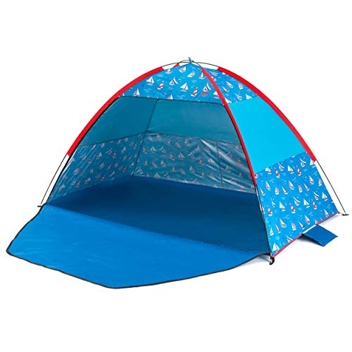 Yello Beach Tent SPF 40 Sun Shelter for Kids and Adults, Blue with Sailboats, 2.1 m
