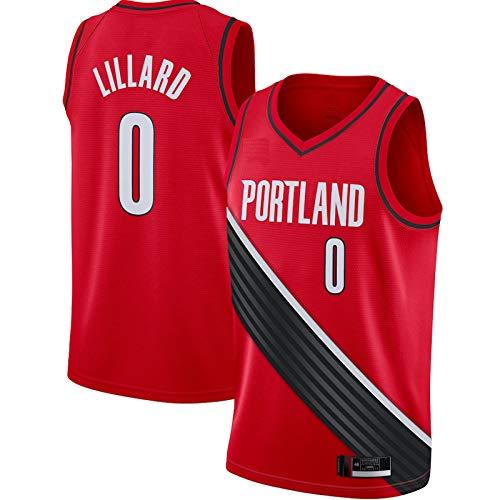 Rosso - Traspirante Damian Gilet Sport Lillard Top #0 Basket Jersey Portland Casual Sport Blazer A Maniche Corte Trail Per Gli Uomini Sport Top