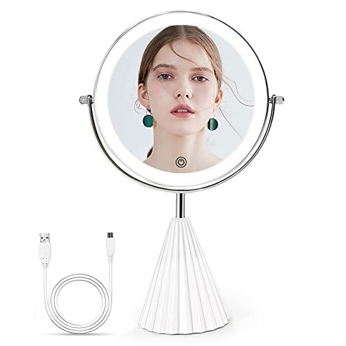 Espejo Maquillaje con Luz LED, 1X/10X Aumento con Luz LED de Doble Cara, Tres Tipos Uniforme Ajustable, 360 Rotación,Control de Luz de Pantalla Táctil, 1800mAh Batería de Litio Recargable