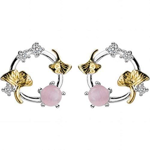 Good dress S925 Silber Ohrringe Weiblichen Japanischen Stil Einfache Gold Ginkgo Süße Synthetische Pulver Glas Ohrschmuck, Ohrstecker, Wie Gezeigt