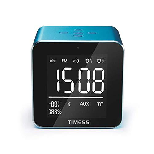 Manyao Reloj Despertador durmientes Pesados habitación de los niños pequeña Oficina LED Relojes Gran Pantalla Digital de Temperatura Espejo Altavoz Dimmer Parámetros de Alarma 2