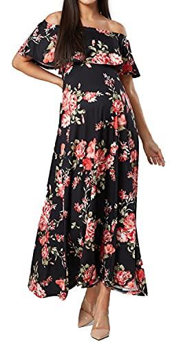 Zeta Ville Damen Mutterschafts Maxi OfShoulder Sommerkleid und Blumendruck 1219 (Schwarz Blumen, 42, XL)