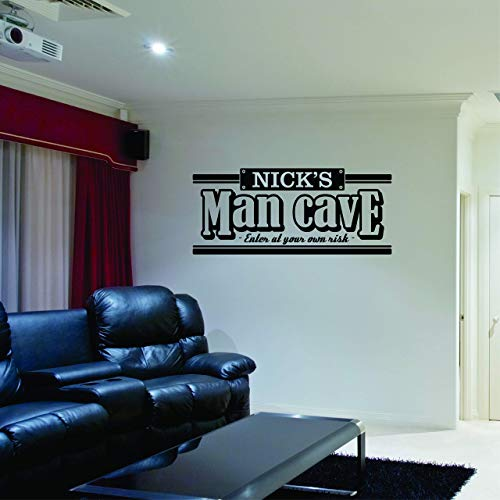 Custom Name Man Cave Wall Decal - Personalized Name Man Cave Vinyl Wall Decal Sticker Art - Guy's Cave Decal - Basement Decal - Gift for Dad - Bar Rec Room Pub Decal