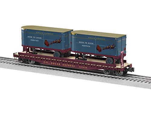 "Lionel The Polar Express, Electric O Gauge Model Train Cars, 50"" Flatcar w/ 20"" Trailers #122420"