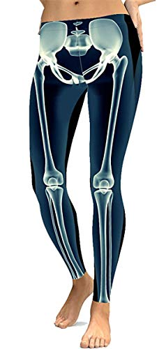 Tamskyt - Mallas elásticas con diseño de esqueleto para mujer, color blanco y negro