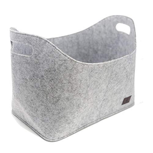 flamaroc - Premium Kaminholztasche aus Filz für Holz, Zeitungen, Kaminholz in anthrazit grau - Filztasche Maße 40 x 23 x 30 cm (Maße 40 x 23 x 30 cm, Hellgrau)