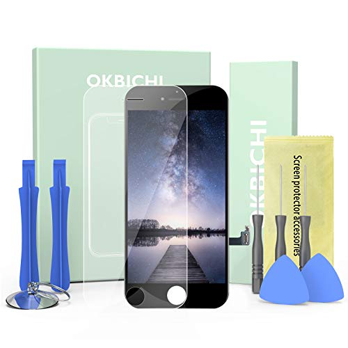 OKBICHI LCD Kit de Pantalla de reemplazo de Pantalla táctil para iPhone 8 (4.7 ,Negro) ensamblaje del Marco del digitalizador Herramienta de reemplazo de conversión Completa y Protector de Pantalla