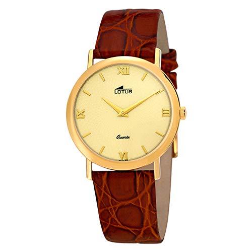 Reloj Lotus 15171/3 Clasico, Dorado, con Esfera Dorada con Detalle, Correa de Piel marrón
