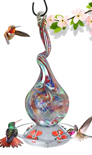 Glass Hummingbird Feeder 16 Fluid Ounce...
