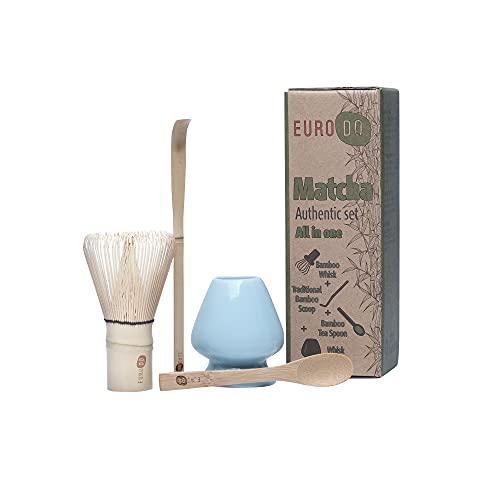 EURODO Japanisches Zubehör für die Matcha-Zeremonie, Matcha-Schneebesen (Chasen), traditionelle Schaufel (Chashaku), Teelöffel, Keramik-Schneebesenhalter (BLAU) - (All in one)