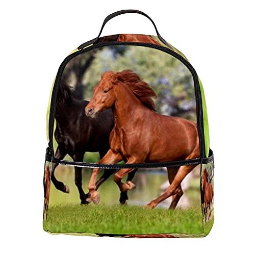Mochila para niños corriendo caballos, mochila escolar para jardín de infancia, preescolar, bebé, guardería, bolsa de viaje 31 x 14,5 x 37 c