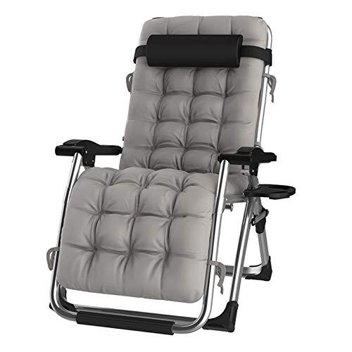 DQCHAIR Lehnender Schwerelosigkeits-Stuhl im Freien mit Getränkehalter, extrabreiter Verstellbarer Liegestuhl für Patio-Garten-Strand-Pool, mit Kissen-Unterstützung 200kg (Color : Silver)