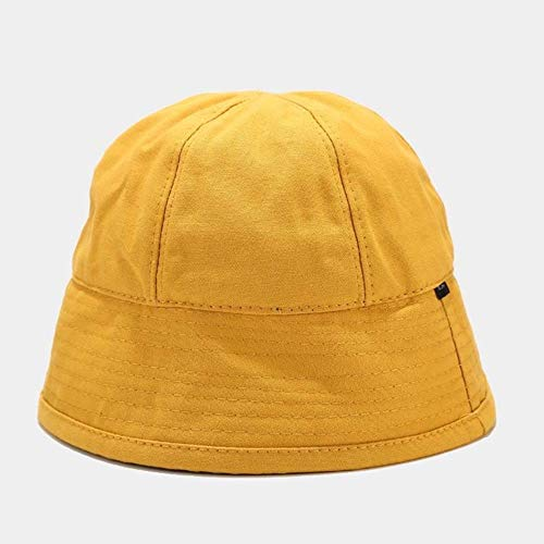 TUOF Summer Shade Fisherman Hat Dome Gorra de Lavabo de ala Ancha de Color sólido Sombrero pequeño Simple y Fresco, Amarillo, 56-58 cm