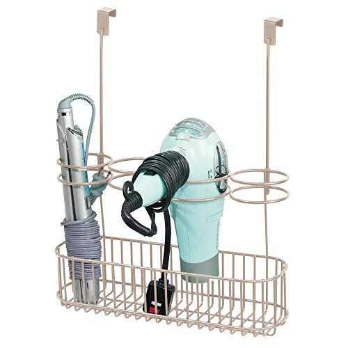 mDesign Soporte para secador de pelo sin taladro – Organizador de baño de puerta para secador de cabello, plancha para pelo y más – Colgador para puerta ideal como estantería de baño – plateado mate