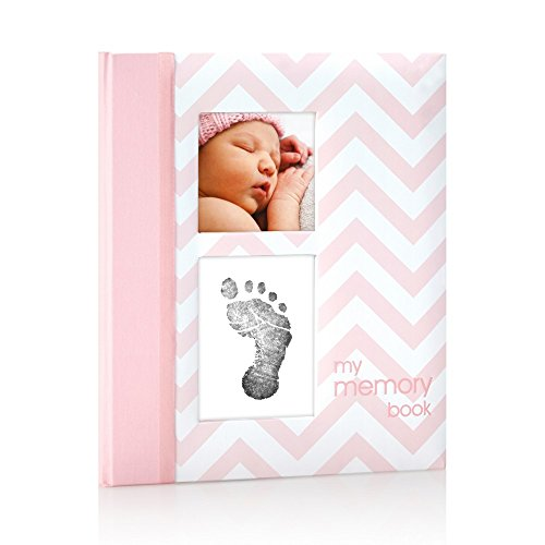 Pearhead First 5 Years Chevron Baby Memory Book with Clean-Touch Baby Safe Ink Pad to Make Baby's Hand or Footprint Included, Pink