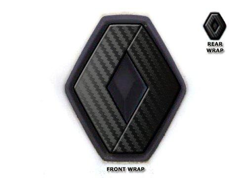 JasonCarlMorgan JCM Emblem-Aufkleber für vorne und hinten, passend für Renault Twingo II 2007–2011, schwarzes Karbon