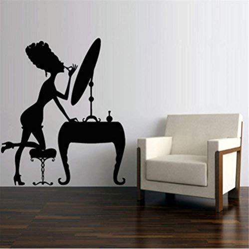 Muurstickers muurschilderingen Decals 49X57cm Make Up Meisje Spiegel Stoel Vrouw Vinyl Verwijderbare Schoonheidssalon Cosmetische Graphics Home Decor