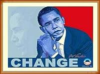 ポスター アームストロング Barack Obama change 額装品 ウッドベーシックフレーム(オレンジ)