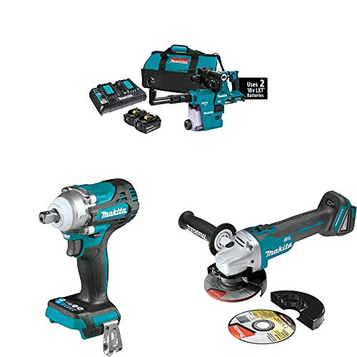 Makita XRH08PTW 18-Volt X2 LXT Brushless Cordless 1-1/8 in. AVT Rotary Hammer Kit, w/HEPA Dust Extractor (5.0Ah) with XWT15Z 4-Speed Impact Wrench w/Detent Anvil and 4-1/2 inch XAG04Z Angle Grinder