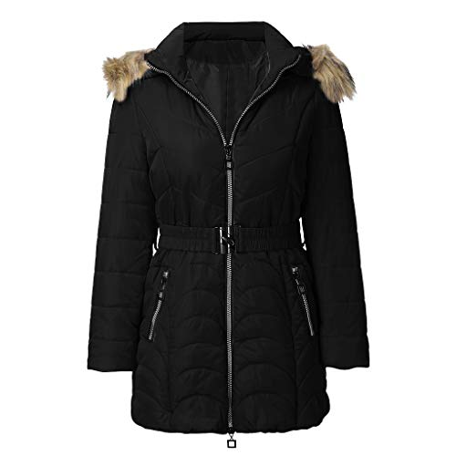 VRTUR Winterjacke Damen, Light Coat Winter Warm Trenchcoat Outwear Hooded Zipper Mantel Übergangsjacke Slim Jacke Dicke Parka mit Kapuze(Schwarz,L)
