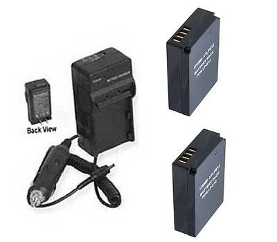 TWO 2 Batteries LPE12 + Charger for Canon EOS Rebel SL1 EOS 100D Kiss X7