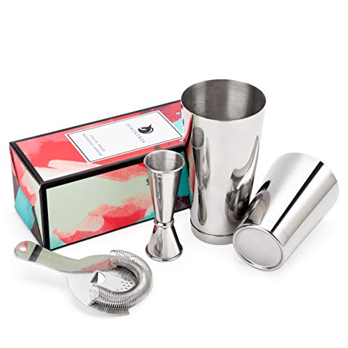 HOMEKEROS Premium Boston Shaker Set: 4-teilig Set: 550ml&750ml Profi Cocktail Shaker, Barsieb and Double Jigger, Food-Grade 18/8 Typ 304 Edelstahl