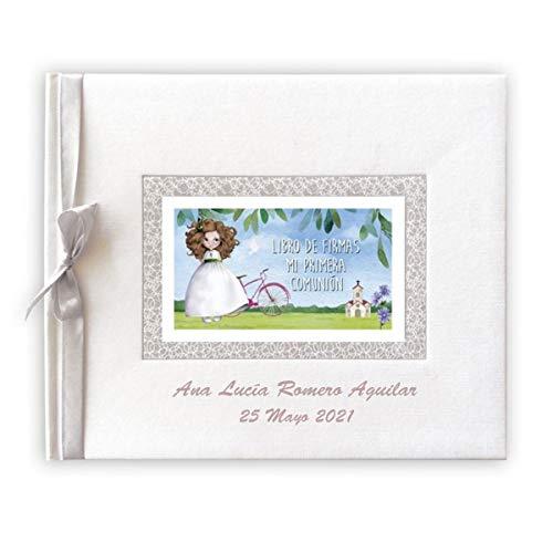 Libro de firmas para comunión color blanco con espiga PERSONALIZADO con grabado en la portada de nombre y fecha (niña bicicleta)