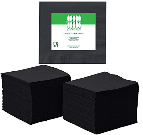 """Black, 200 Ideal for Birthday Wedding 200 Pack 4.75/"""" x 4.75/"""" 2-ply Lunch Party Cocktail Zenco Beverage and Cocktail Napkins Dinner"""
