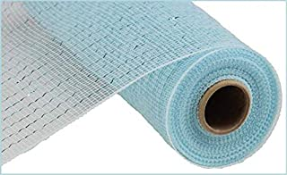 "25.4 cm x 76.20 cm 装饰聚酯网丝带 Light Blue, Light Blue Foil 10"" x 10 Yards (30 Feet) RE130114"
