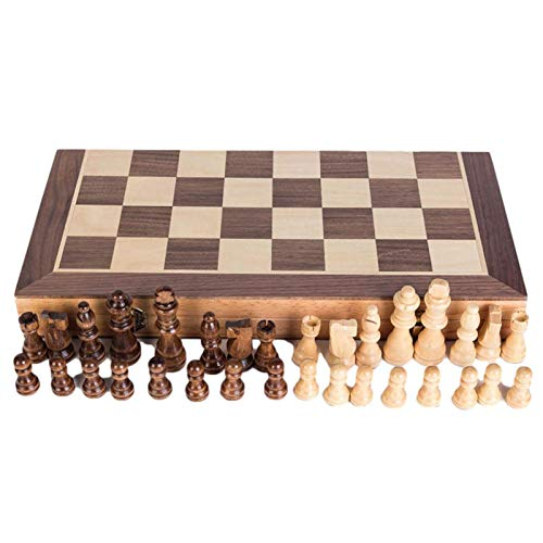 SHBV Magnetic International Chess - Juego de ajedrez de Madera de ajedrez Internacional con Tablero de ajedrez Plegable Caja de Almacenamiento de Piezas de ajedrez (40 * 40 * 5 cm)